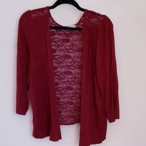 Maurices lace-back cardigan